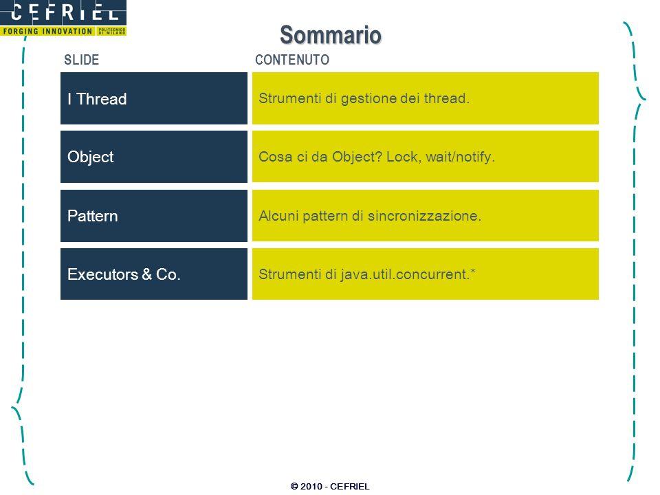 © 2010 - CEFRIEL Sommario SLIDECONTENUTO I Thread Strumenti di gestione dei thread.