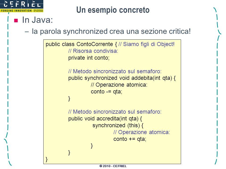 © 2010 - CEFRIEL Un esempio concreto public class ContoCorrente { // Siamo figli di Object.