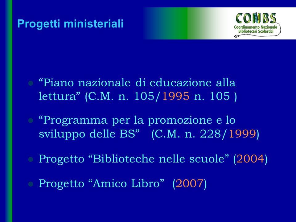 Progetti ministeriali Piano nazionale di educazione alla lettura (C.M. n. 105/1995 n. 105 ) Programma per la promozione e lo sviluppo delle BS (C.M. n