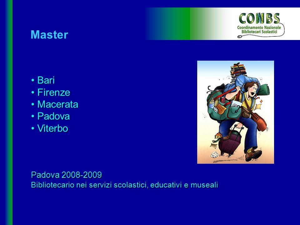 Master Bari Bari Firenze Firenze Macerata Macerata Padova Padova Viterbo Viterbo Padova 2008-2009 Bibliotecario nei servizi scolastici, educativi e mu
