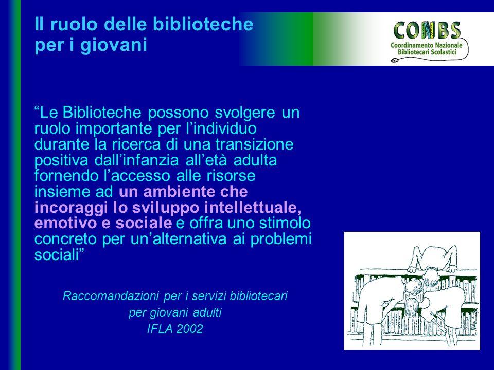 Il CONBS ha messo in contatto bibliotecari scolastici di tutta Italia I bibliotecari scolastici parlano in prima persona Esiste una realtà multiforme, viva, in rapporto dialettico con i mutamenti della società Biblioteca virtuosa