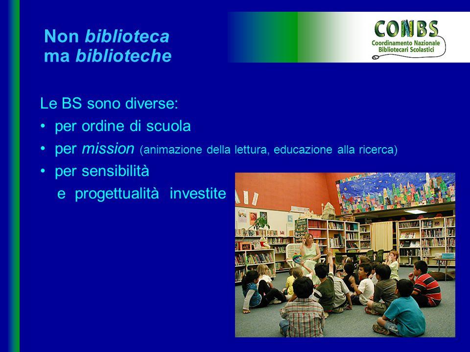 Non biblioteca ma biblioteche Le BS sono diverse: per ordine di scuola per mission (animazione della lettura, educazione alla ricerca) per sensibilità
