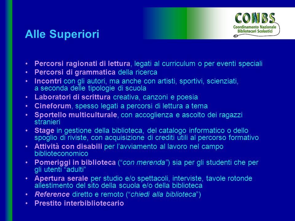 Alle Superiori Percorsi ragionati di lettura, legati al curriculum o per eventi speciali Percorsi di grammatica della ricerca Incontri con gli autori,