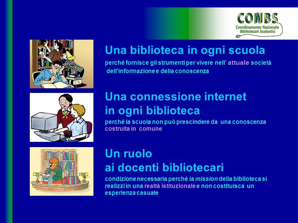 Una biblioteca in ogni scuola perché fornisce gli strumenti per vivere nell attuale società dellinformazione e della conoscenza Una connessione intern