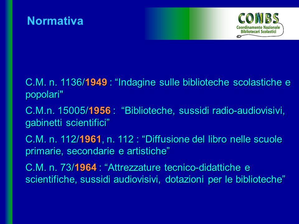 C.M. n. 1136/1949 : Indagine sulle biblioteche scolastiche e popolari