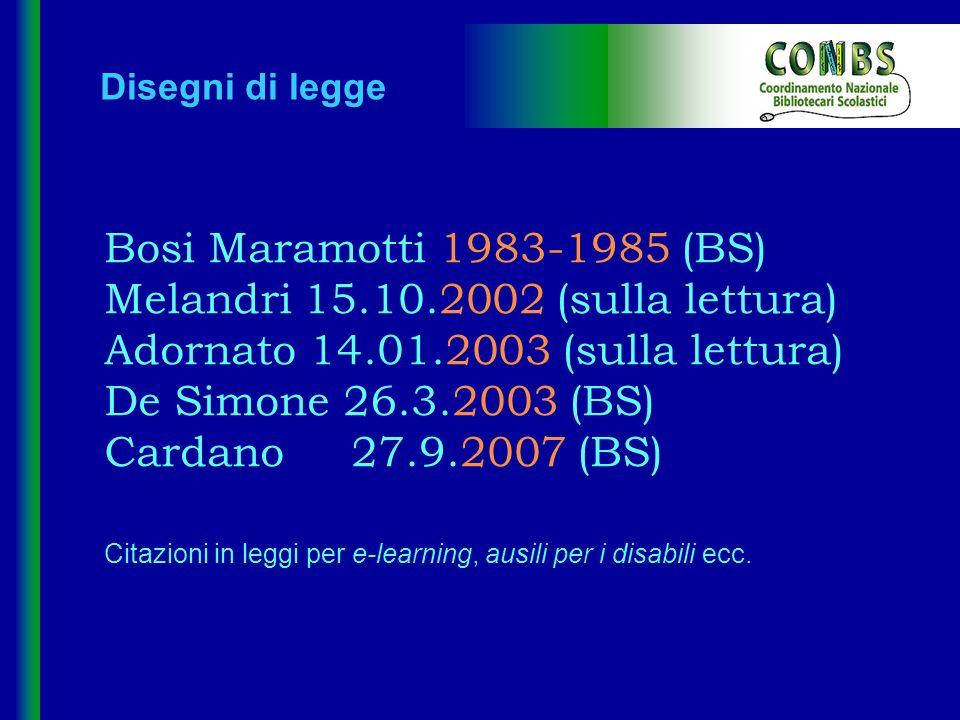 Disegni di legge Bosi Maramotti 1983-1985 (BS) Melandri 15.10.2002 (sulla lettura) Adornato 14.01.2003 (sulla lettura) De Simone 26.3.2003 (BS) Cardan