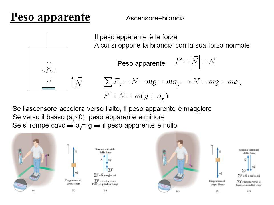 Peso apparente Ascensore+bilancia Il peso apparente è la forza A cui si oppone la bilancia con la sua forza normale Peso apparente Se lascensore accel