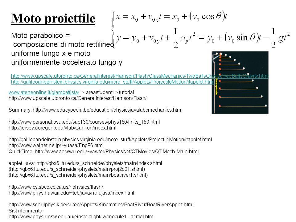 Moto proiettile Moto parabolico = composizione di moto rettilineo uniforme lungo x e moto uniformemente accelerato lungo y http://www.upscale.utoronto