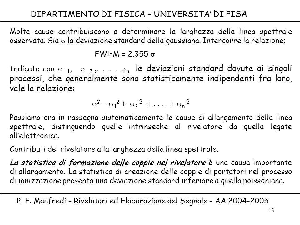 19 Molte cause contribuiscono a determinare la larghezza della linea spettrale osservata. Sia la deviazione standard della gaussiana. Intercorre la re