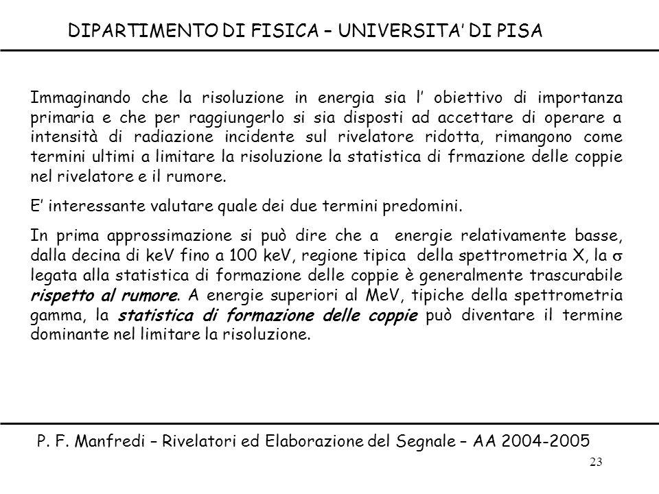 23 Immaginando che la risoluzione in energia sia l obiettivo di importanza primaria e che per raggiungerlo si sia disposti ad accettare di operare a i