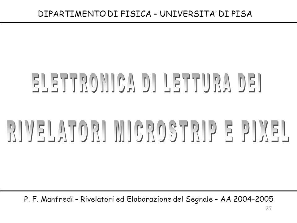 27 DIPARTIMENTO DI FISICA – UNIVERSITA DI PISA P. F. Manfredi – Rivelatori ed Elaborazione del Segnale – AA 2004-2005