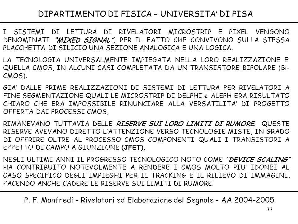 33 DIPARTIMENTO DI FISICA – UNIVERSITA DI PISA P. F. Manfredi – Rivelatori ed Elaborazione del Segnale – AA 2004-2005 I SISTEMI DI LETTURA DI RIVELATO