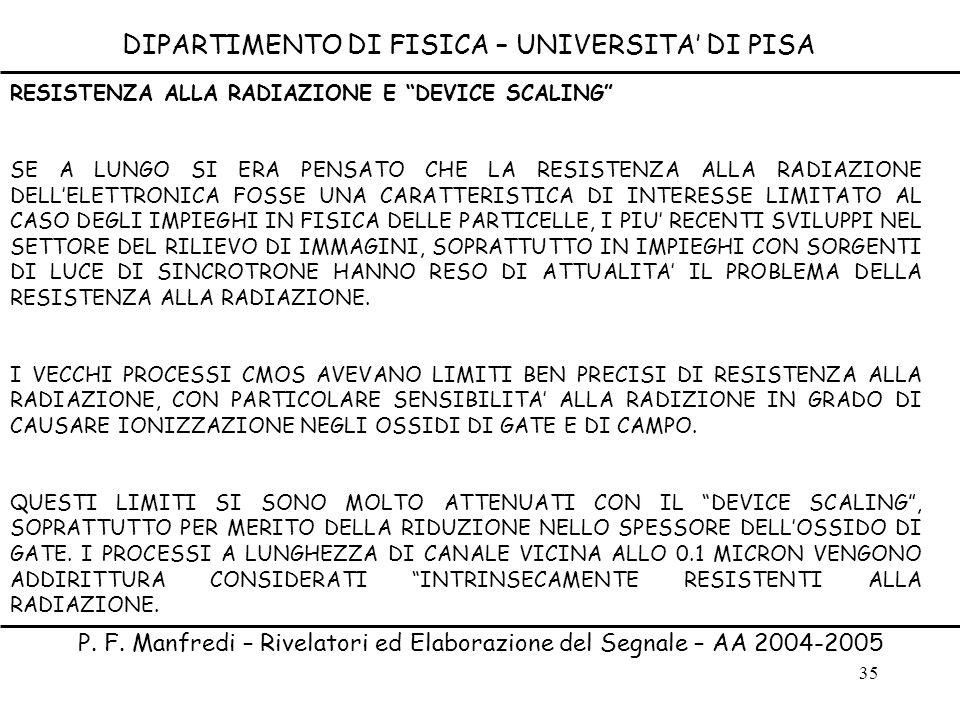 35 DIPARTIMENTO DI FISICA – UNIVERSITA DI PISA P. F. Manfredi – Rivelatori ed Elaborazione del Segnale – AA 2004-2005 RESISTENZA ALLA RADIAZIONE E DEV