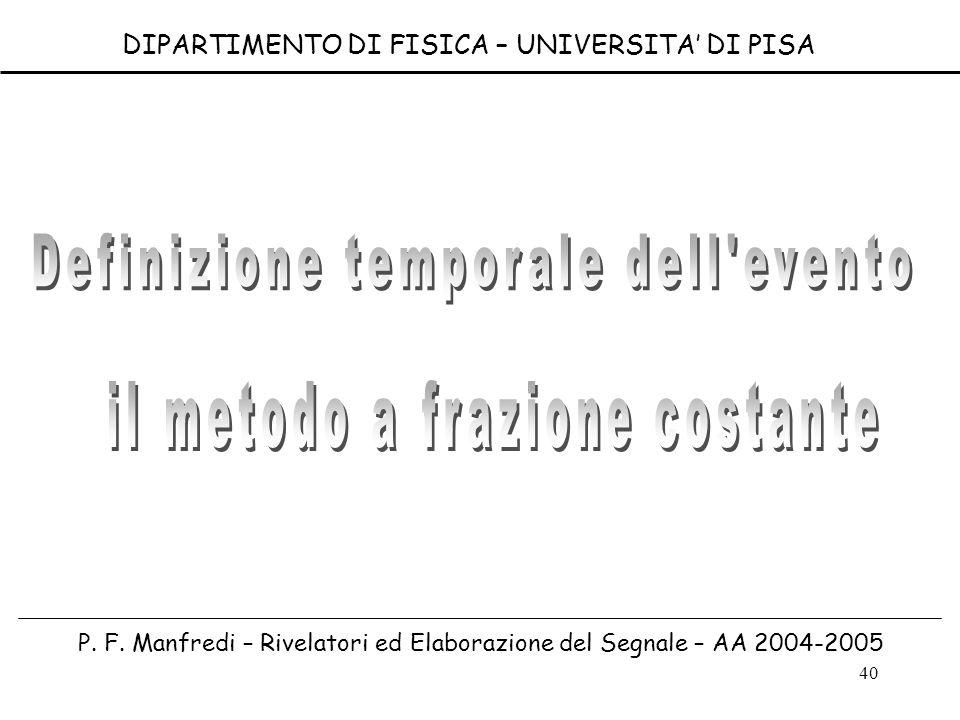 40 DIPARTIMENTO DI FISICA – UNIVERSITA DI PISA P. F. Manfredi – Rivelatori ed Elaborazione del Segnale – AA 2004-2005