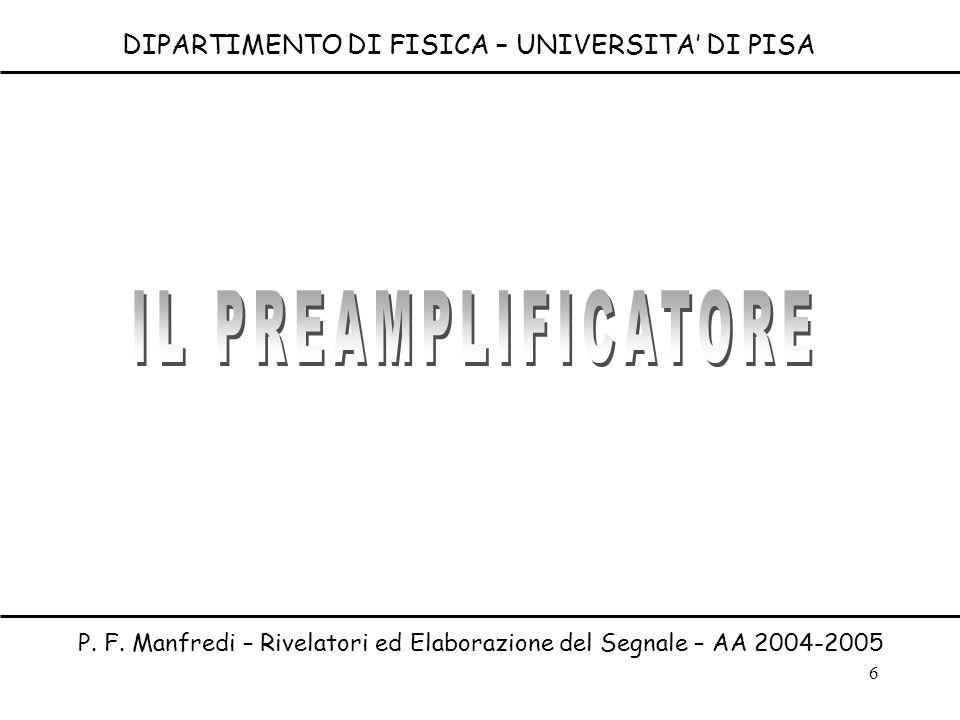 6 DIPARTIMENTO DI FISICA – UNIVERSITA DI PISA P. F. Manfredi – Rivelatori ed Elaborazione del Segnale – AA 2004-2005
