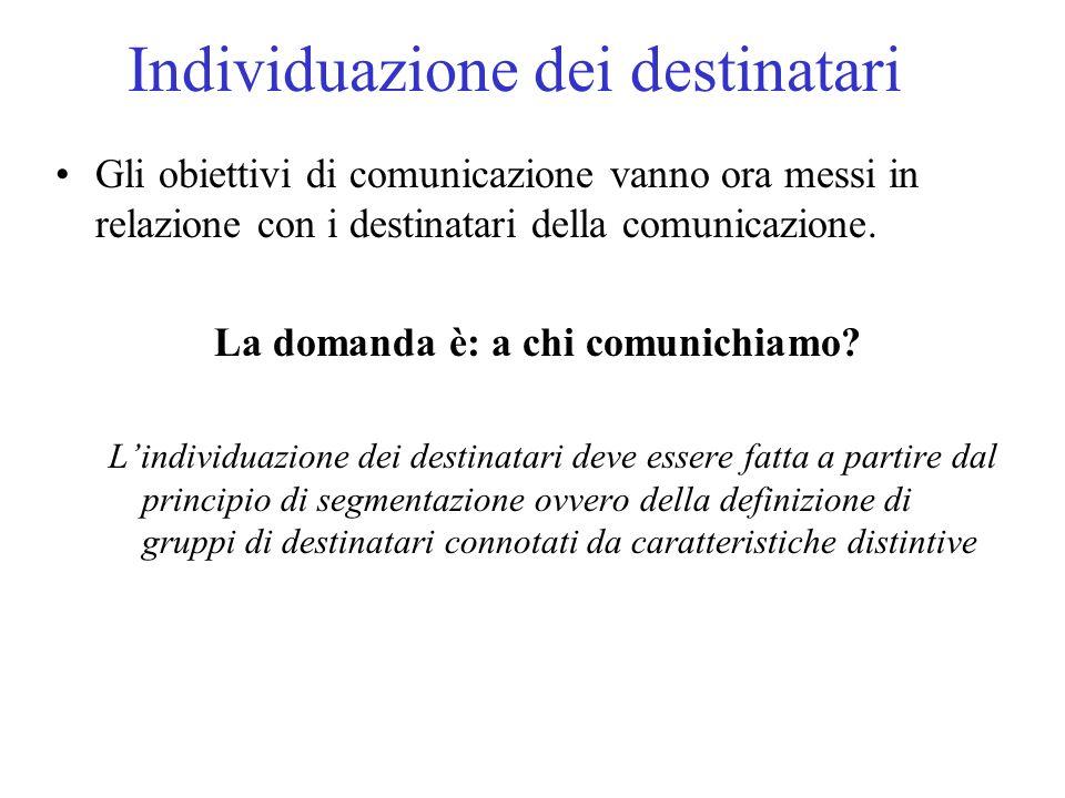 Individuazione dei destinatari Gli obiettivi di comunicazione vanno ora messi in relazione con i destinatari della comunicazione.
