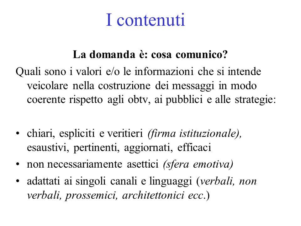 I contenuti La domanda è: cosa comunico.