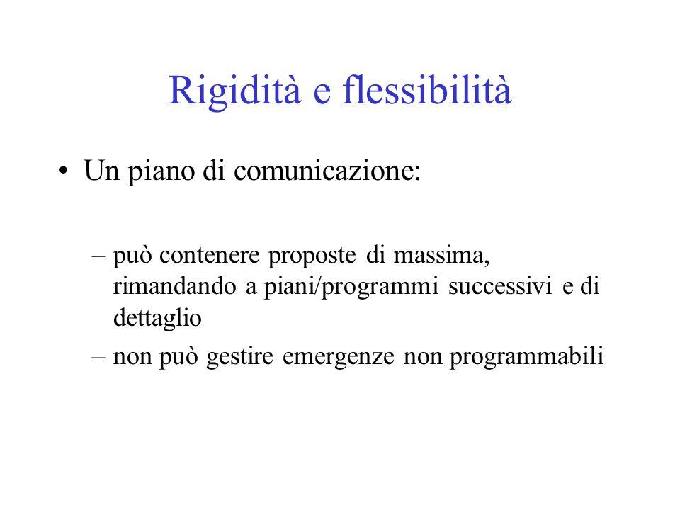 Rigidità e flessibilità Un piano di comunicazione: –può contenere proposte di massima, rimandando a piani/programmi successivi e di dettaglio –non può gestire emergenze non programmabili