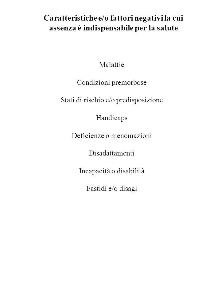 Caratteristiche e/o fattori negativi la cui assenza è indispensabile per la salute Malattie Condizioni premorbose Stati di rischio e/o predisposizione
