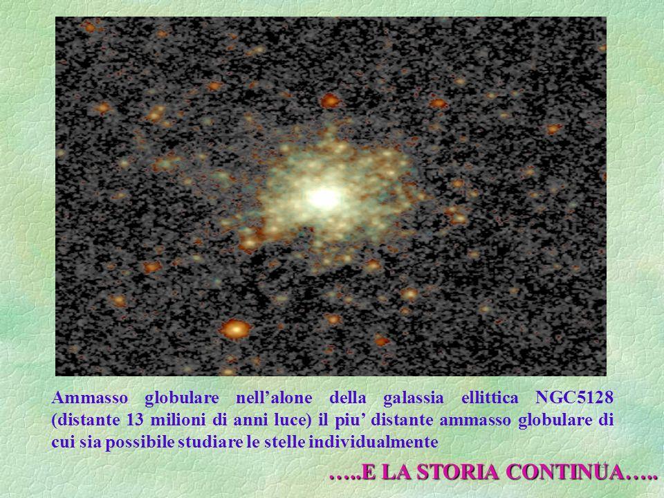 44 Ammasso globulare nellalone della galassia ellittica NGC5128 (distante 13 milioni di anni luce) il piu distante ammasso globulare di cui sia possib