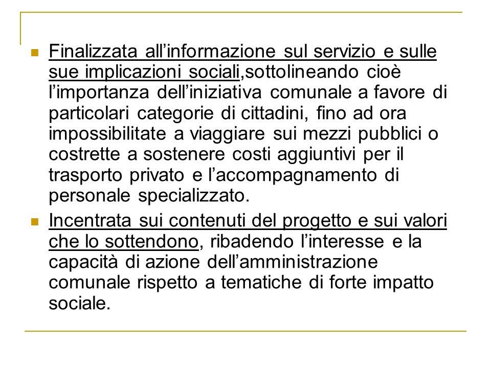 Finalizzata allinformazione sul servizio e sulle sue implicazioni sociali,sottolineando cioè limportanza delliniziativa comunale a favore di particola