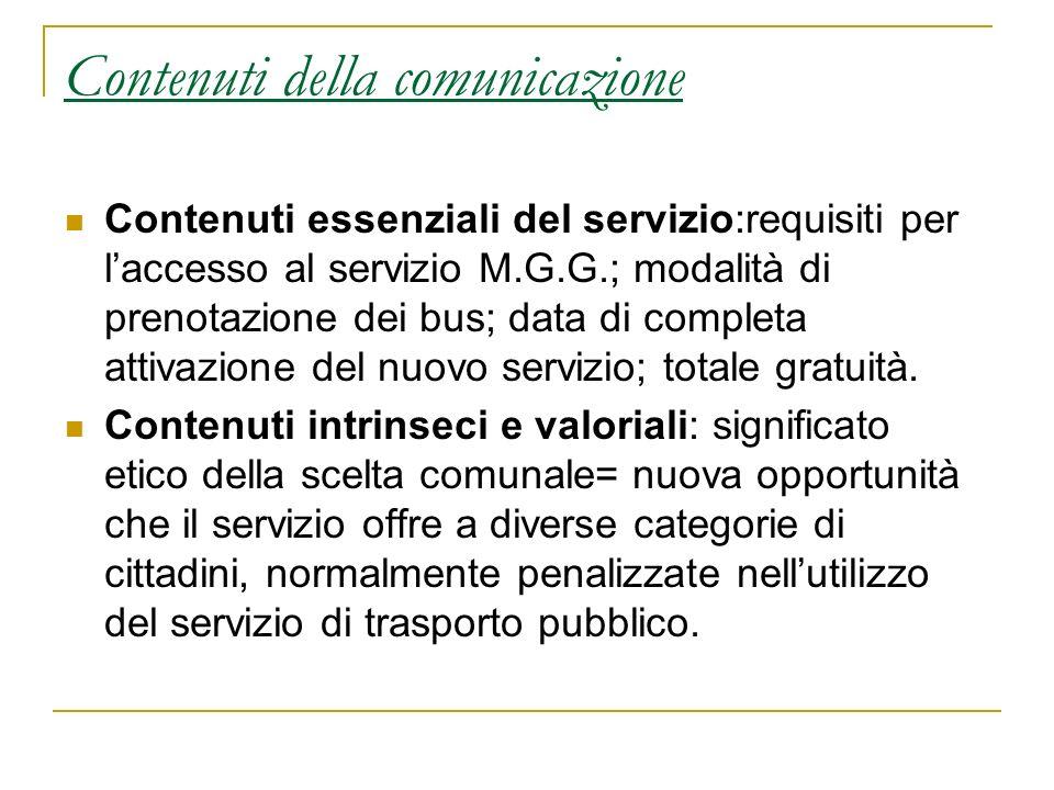 Contenuti della comunicazione Contenuti essenziali del servizio:requisiti per laccesso al servizio M.G.G.; modalità di prenotazione dei bus; data di c