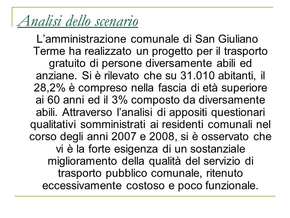 Analisi dello scenario Lamministrazione comunale di San Giuliano Terme ha realizzato un progetto per il trasporto gratuito di persone diversamente abi