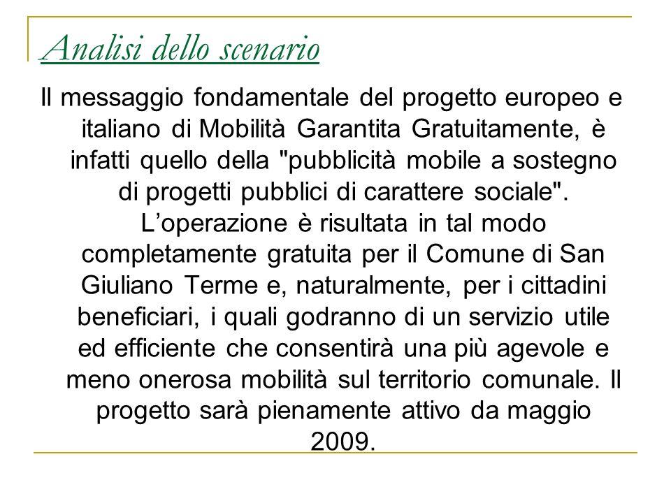 Analisi dello scenario Il messaggio fondamentale del progetto europeo e italiano di Mobilità Garantita Gratuitamente, è infatti quello della
