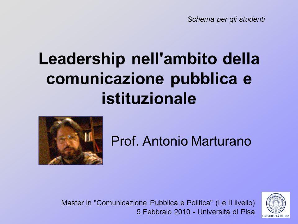 Leadership nell'ambito della comunicazione pubblica e istituzionale Prof. Antonio Marturano Master in
