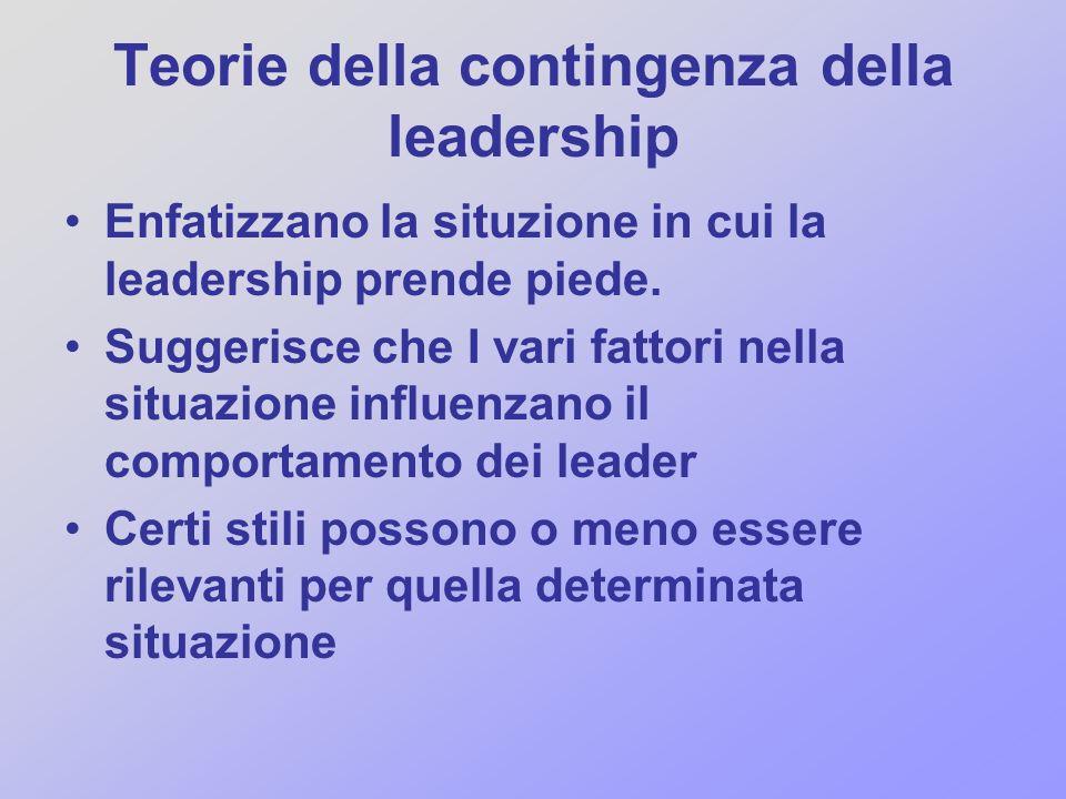 Teorie della contingenza della leadership Enfatizzano la situzione in cui la leadership prende piede. Suggerisce che I vari fattori nella situazione i