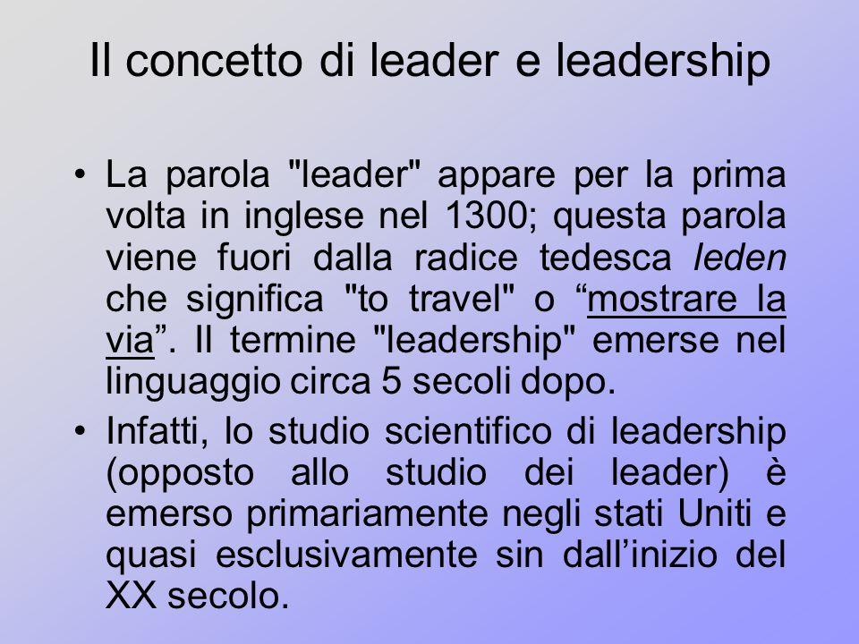 Il concetto di leader e leadership La parola