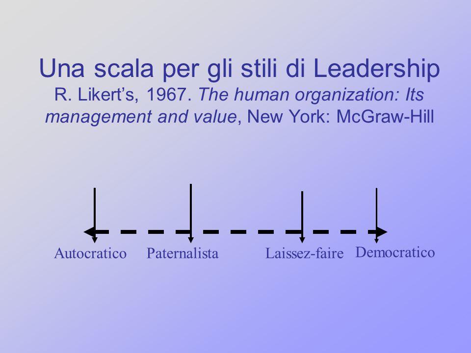 Una scala per gli stili di Leadership R. Likerts, 1967. The human organization: Its management and value, New York: McGraw-Hill Autocratico Democratic