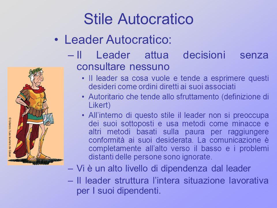 Stile Autocratico Leader Autocratico: –Il Leader attua decisioni senza consultare nessuno Il leader sa cosa vuole e tende a esprimere questi desideri