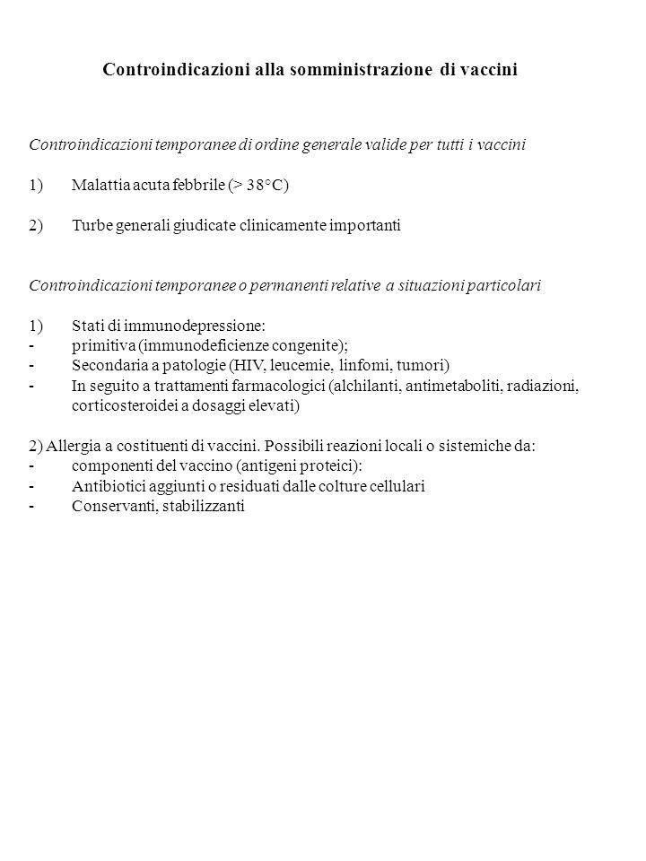 Controindicazioni alla somministrazione di vaccini Controindicazioni temporanee di ordine generale valide per tutti i vaccini 1)Malattia acuta febbril