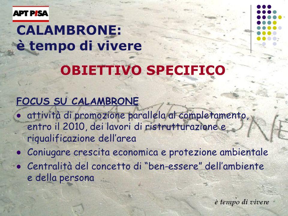 CALAMBRONE: è tempo di vivere OBIETTIVO SPECIFICO FOCUS SU CALAMBRONE attività di promozione parallela al completamento, entro il 2010, dei lavori di