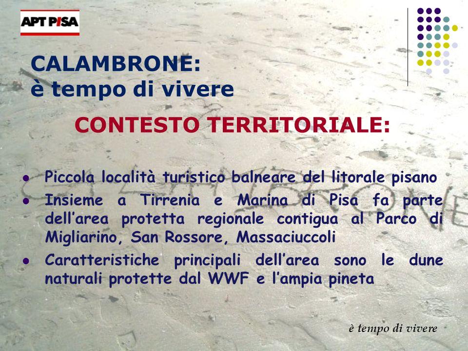 CALAMBRONE: è tempo di vivere CONTESTO TERRITORIALE: Piccola località turistico balneare del litorale pisano Insieme a Tirrenia e Marina di Pisa fa pa