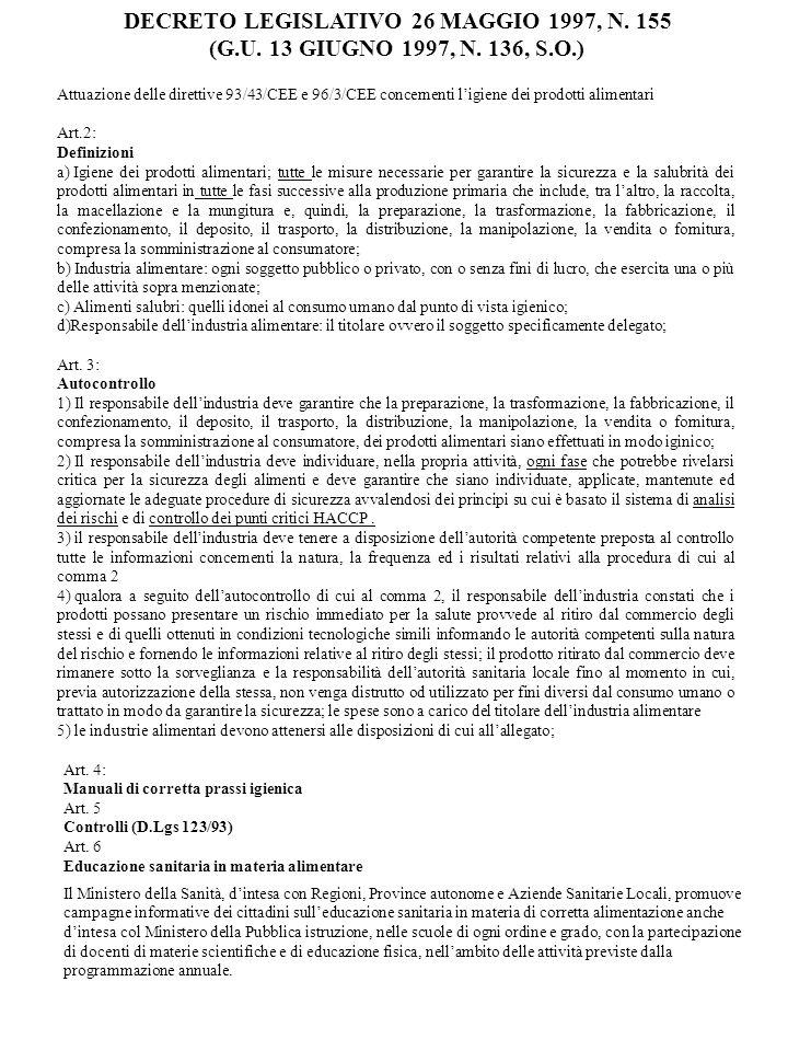 DECRETO LEGISLATIVO 26 MAGGIO 1997, N. 155 (G.U. 13 GIUGNO 1997, N. 136, S.O.) Attuazione delle direttive 93/43/CEE e 96/3/CEE concernenti ligiene dei