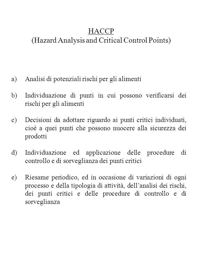 HACCP (Hazard Analysis and Critical Control Points) a)Analisi di potenziali rischi per gli alimenti b)Individuazione di punti in cui possono verificar