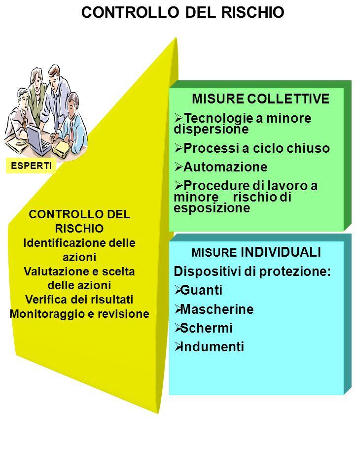 CONTROLLO DEL RISCHIO Identificazione delle azioni Valutazione e scelta delle azioni Verifica dei risultati Monitoraggio e revisione ESPERTI CONTROLLO