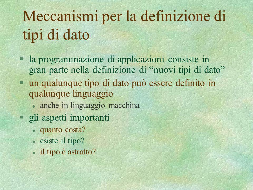 1 Meccanismi per la definizione di tipi di dato §la programmazione di applicazioni consiste in gran parte nella definizione di nuovi tipi di dato §un qualunque tipo di dato può essere definito in qualunque linguaggio l anche in linguaggio macchina §gli aspetti importanti l quanto costa.