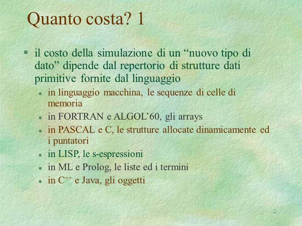 43 S-espressione: semantica # module SemSexpr: SEXPR = struct type sexpr = Nil| Cons of (sexpr ref) * (sexpr ref)| Node of string exception NotACons exception NotALeaf let nil = Nil let cons (x, y) = Cons(ref(x), ref(y)) let node s = Node s let car = function Cons(x,y) -> !x | _ -> raise NotACons let cdr = function Cons(x,y) -> !y | _ -> raise NotACons let leaf = function Node x -> x | _ -> raise NotALeaf let null = function Nil -> true | _ -> false let atom = function Cons(x,y) -> false | _ -> true let rplaca = function (Cons(x, y), z) -> x := z | _ -> raise NotACons let rplacd = function (Cons(x, y), z) -> y := z | _ -> raise NotACons end