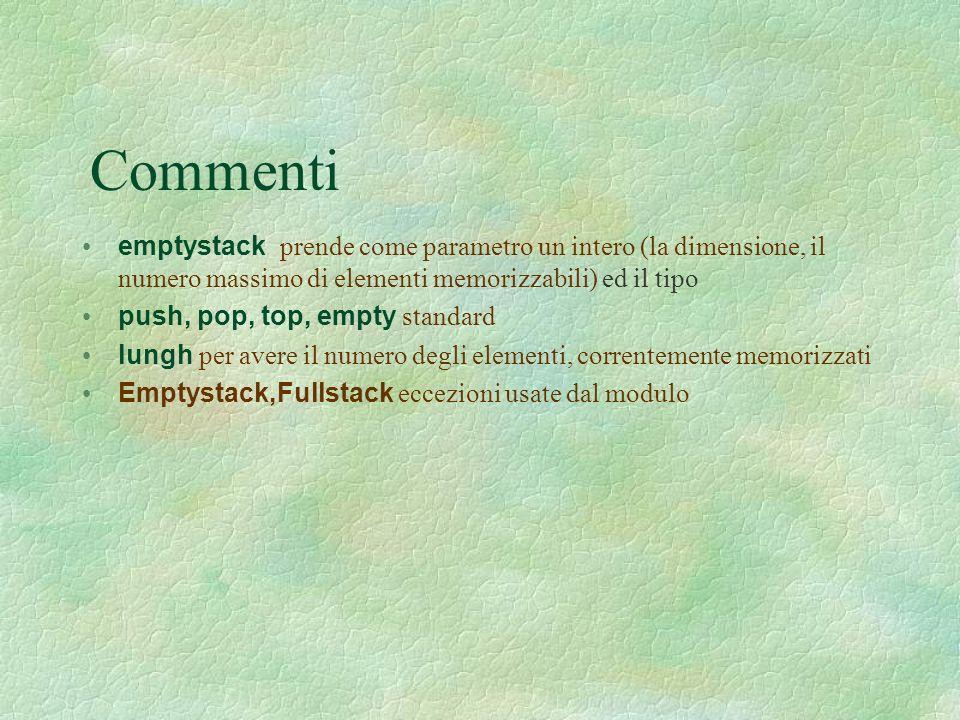 Commenti emptystack prende come parametro un intero (la dimensione, il numero massimo di elementi memorizzabili) ed il tipo push, pop, top, empty standard lungh per avere il numero degli elementi, correntemente memorizzati Emptystack,Fullstack eccezioni usate dal modulo