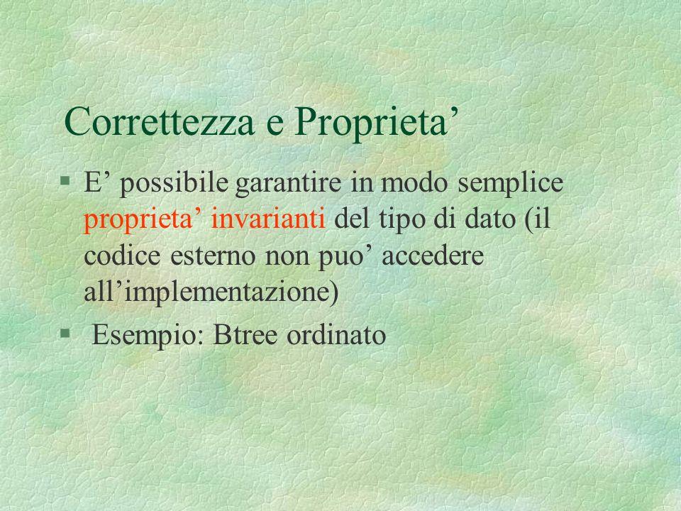 Correttezza e Proprieta §E possibile garantire in modo semplice proprieta invarianti del tipo di dato (il codice esterno non puo accedere allimplementazione) § Esempio: Btree ordinato