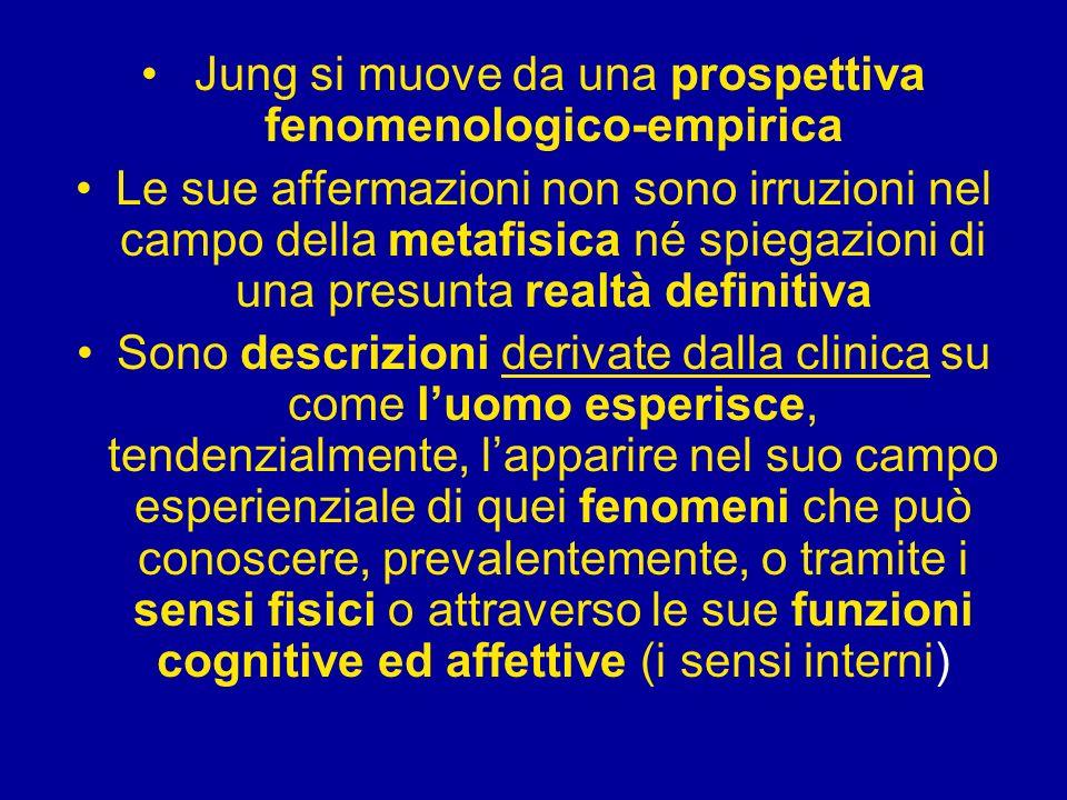 Jung si muove da una prospettiva fenomenologico-empirica Le sue affermazioni non sono irruzioni nel campo della metafisica né spiegazioni di una presu