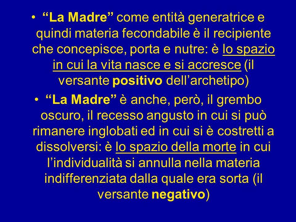 La Madre come entità generatrice e quindi materia fecondabile è il recipiente che concepisce, porta e nutre: è lo spazio in cui la vita nasce e si acc