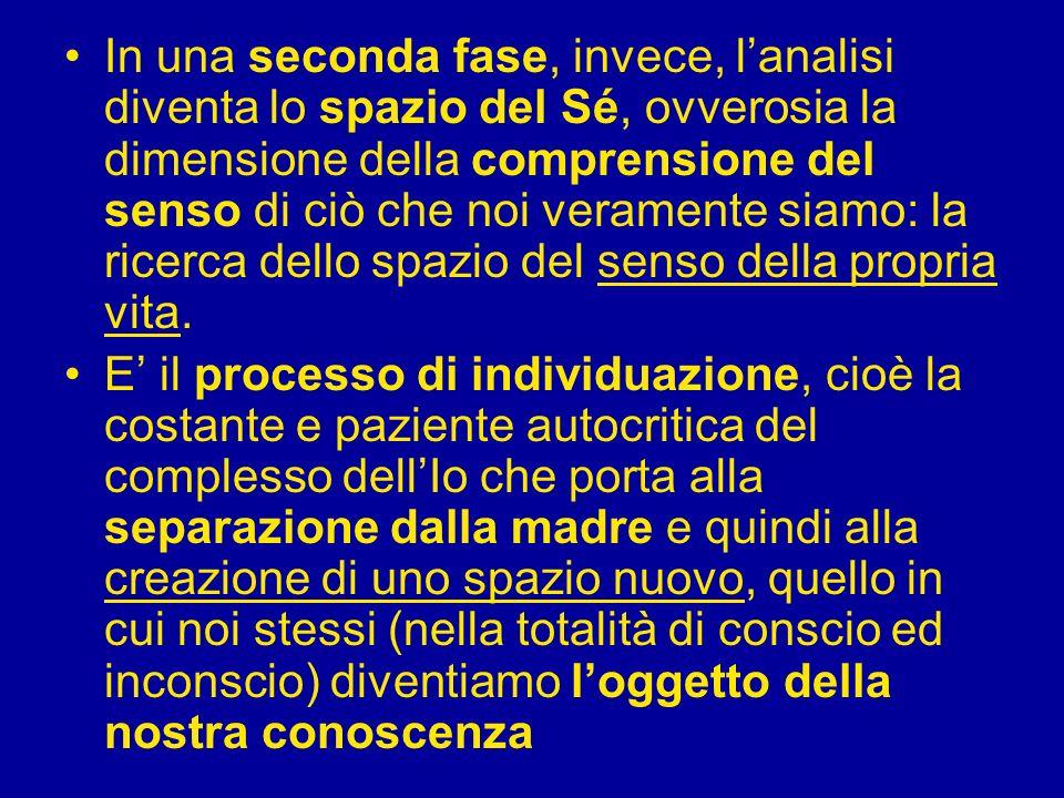 In una seconda fase, invece, lanalisi diventa lo spazio del Sé, ovverosia la dimensione della comprensione del senso di ciò che noi veramente siamo: l