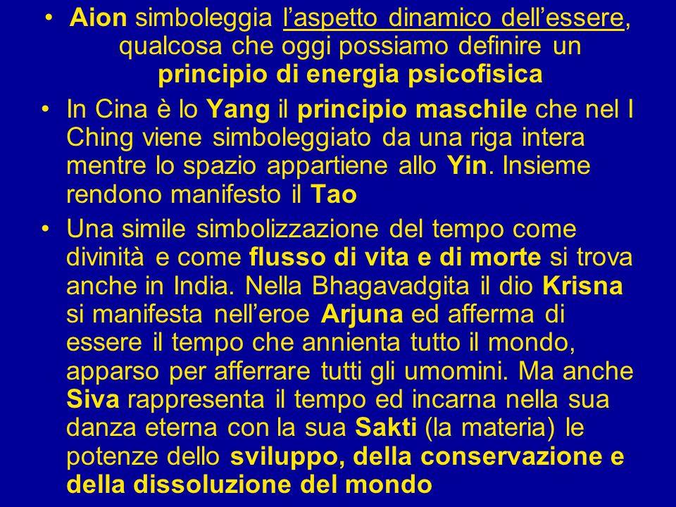 Aion simboleggia laspetto dinamico dellessere, qualcosa che oggi possiamo definire un principio di energia psicofisica In Cina è lo Yang il principio