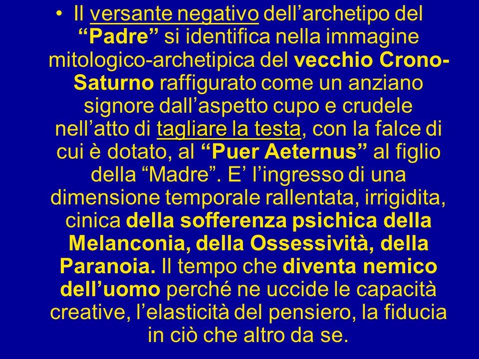 tagliare la testaIl versante negativo dellarchetipo del Padre si identifica nella immagine mitologico-archetipica del vecchio Crono- Saturno raffigura