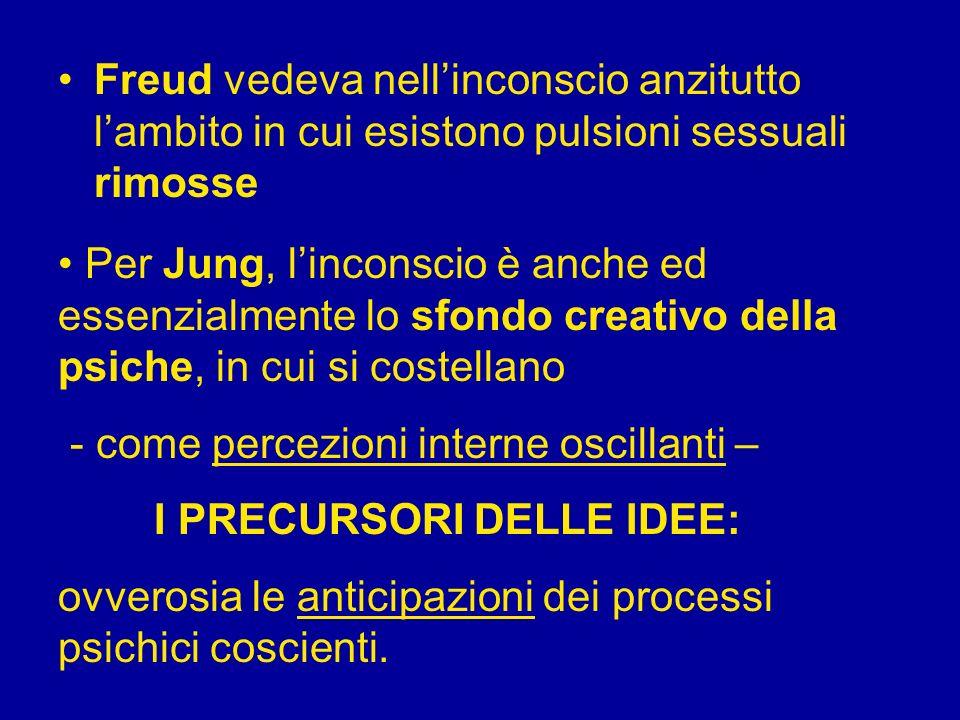 Freud vedeva nellinconscio anzitutto lambito in cui esistono pulsioni sessuali rimosse Per Jung, linconscio è anche ed essenzialmente lo sfondo creati