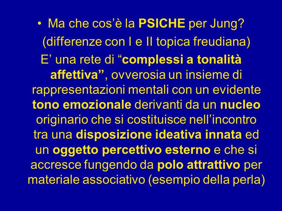 Ma che cosè la PSICHE per Jung? (differenze con I e II topica freudiana) E una rete di complessi a tonalità affettiva, ovverosia un insieme di rappres